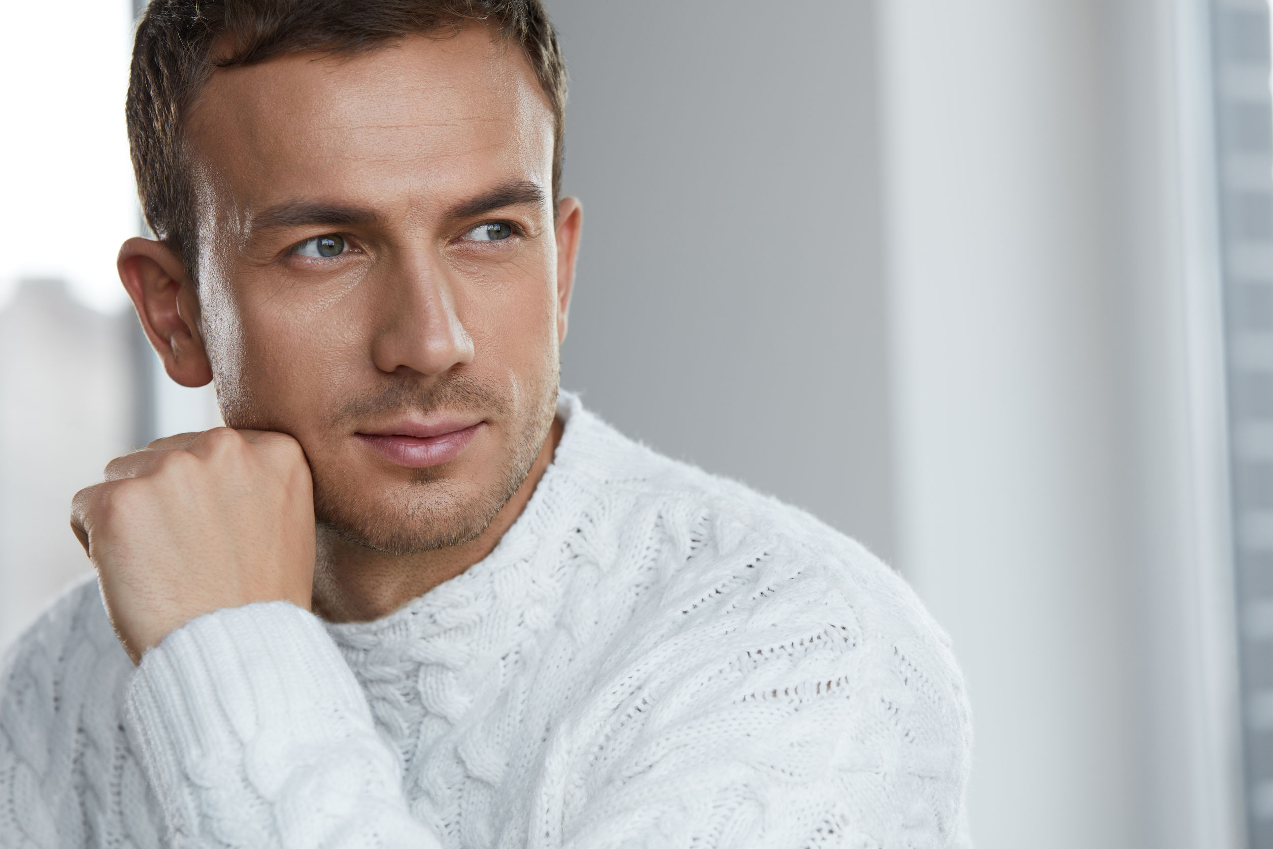 Portrait Of Handsome Young Man With Beautiful Face, Soft Skin