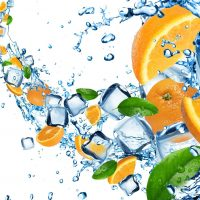 17534255 - oranges in water splash with ice cubes